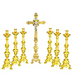 Altar Brass Cross and Candle sticks Set