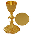 Solid Brass Chalice & Paten with Ornaments