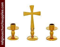 Solid Brass Alter Set with Matching Candlesticks