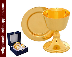 Polished Brass Chalice and Paten
