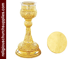 Hand Carved Chalice and Paten Set