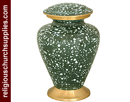 Brass Urns Enameled Marble Touch