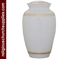 Brass White Enameled Golden Line Urn