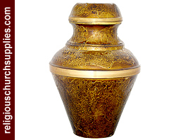Solid Brass Embossed Enameled Urns