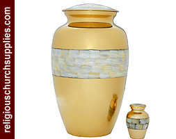Brass Adult Keepsake Urn with Mother of Pearl Urn
