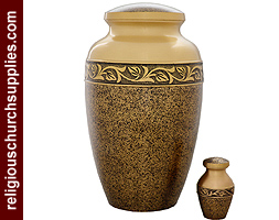Hand Engraved Enameled Urn Two Tone Finish