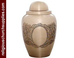 Brass Mat Nickel Plated and Hand Engraved Urn