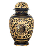 Brass Black Enameled and Hand Engraved Urns
