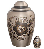 Keepsake Urn Brass Black Steel and Hand Engraved